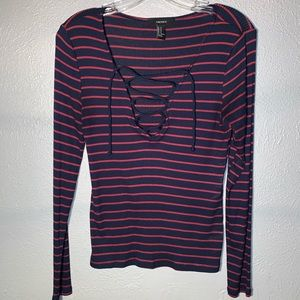 Stripped Long Front Lace Top